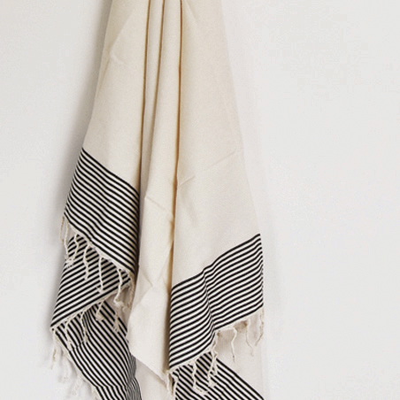 Partridge eye fouta – ivory with black stripes