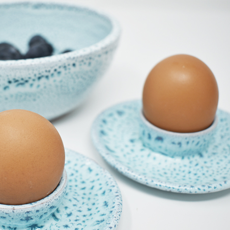 Aqua speckle egg cups