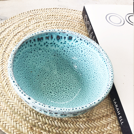 Aqua speckle medium bowl