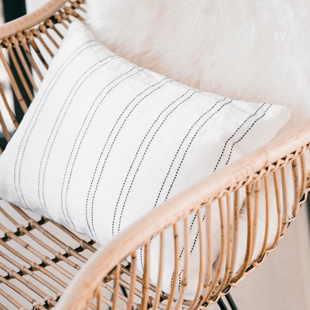 Linen striped cushion rectangle